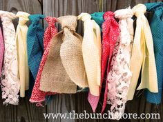 Shabby Chic Turquoise Red and Yellow with Burlap Rag Tie #Garland by thebunchstore, $30.00
