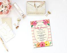 Pink stripe baby shower invitation printable / Spade inspired baby shower / girl baby invite / Kate invite / flower invite / pink invite
