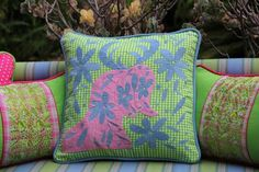 """Blue and Pink on Lime Gingham hand embroidered Otomi EURO  Sham Scarlett """"O"""" collection"""