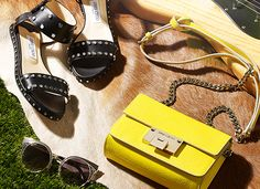The Jimmy Choo Festival Edit featuring ORA Sunglasses, VETO Flat and REBEL bag