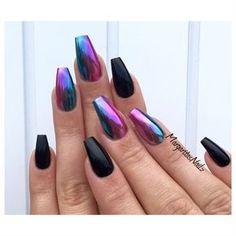 Ombré Chrome Coffin Nails by MargaritasNailz