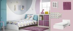MALM white bed with EXPEDIT white shelving unit and IKEA PS turquoise cabinet