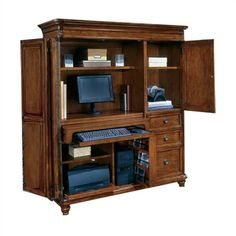 Cherry Wood Computer Armoire for a Living Room or Home Office - Home Interior Design Themes Sunroom Furniture, Home Office Furniture, Furniture Design, Furniture Decor, Small Computer, Best Computer, Computer Armoire, Office Furniture Manufacturers, Best Desk