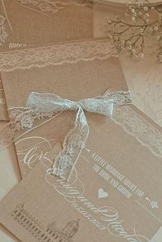 Natural Brown Card with Lace Detail Wedding Stationery