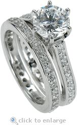 Cubic Zirconia Round & Pave CZ Wedding Ring Set 14K White Gold By Ziamond.  The Cusana Bridal Set features a 1.5 carat round cubic zirconia center with a form fitting matching band.  $1795 #ziamond #cubiczirconia #cz #diamond #jewelry #weddingset #engagementring #ring #solitaire #14kgold