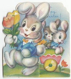 Vintage Easter Rabbit Pulling Cart of Baby Rabbits Fold Out Greeting Card