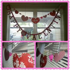 Store bought Happy Valentine's Day banner (removed DAY) hung below a DIY hearts banner. Cut hearts of varying sizes from red/white/pink scrapbook paper and punched holes in the tops. Strung them up with twine!