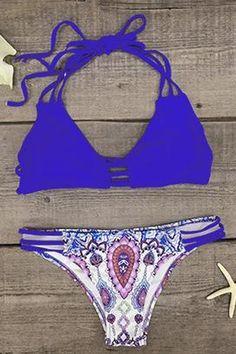 Cupshe Wind And Sea Halter Bikini Set