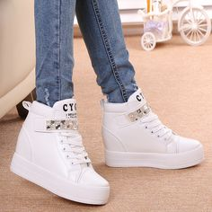 Cheap Women's Fashion Sneakers on Sale at Bargain Price, Buy Quality sneaker wheels, shoes for wedding party, shoes for women flat from China sneaker wheels Suppliers at Aliexpress.com:1,2014 year autumn:2014 year autumn 2,Upper Material:Canvas,PU 3,Pattern Type:Solid 4,Model Number:wedge high heels sneakers 5,Lining Material:Cotton Fabric