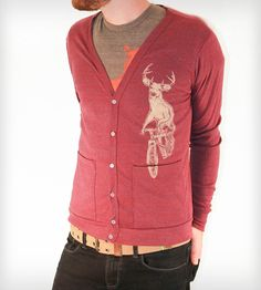 lazlo. Deer on a Bicycle Cardigan by Dark Cycle Clothing |on Scoutmob Shoppe. A deer on a bike on a cardigan on you. It's just that good.