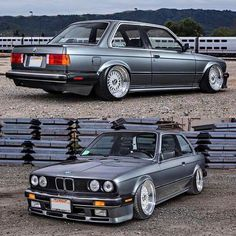 BMW E30 3 series grey slammed BBS