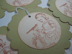 Handmade Gift Tags  Girl with Bird Friend  Stamped by wkburden