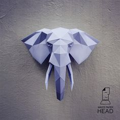 Papercraft elephant head 2 printable DIY von WastePaperHead