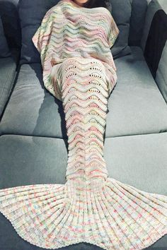 $19.61 Comfortable Multicolor Knitted Mermaid Tail Design Blanket For Adult