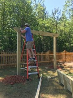 My husband really wanted a swing for us to use while the kids ran outside. So, I caved and told him to go for it! He's a contractor, so he definitely has a lot… Diy Swing, Porch Swing, Backyard Swings, Backyard Ideas, Outdoor Swings, Patio Decks, Backyard Playground, Outdoor Decor, Hanging Swing Chair