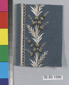 Sample Date: early 19th century Culture: French Medium: Silk and metal thread on felt Dimensions: L. 3 3/8 x W. 2 1/2 inches 8.6 x 6.4 cm Classification: Textiles-Embroidered Credit Line: Gift of The United Piece Dye Works, 1936
