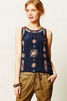 Donka Stitched Tank #anthropologie.  Real talk:  this looked a lot better on me than it does in this pic.