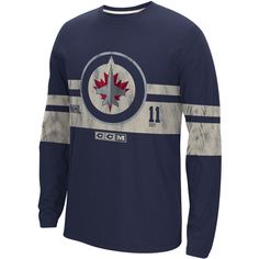 Reebok NHL Winnipeg Jets Long Sleeve Crew Neck Top ($45) ❤ liked on Polyvore featuring men's fashion, men's clothing, men's shirts, apparel and men