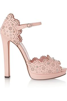 Alexander McQueen|Studded laser-cut leather sandals| @ shoes 1