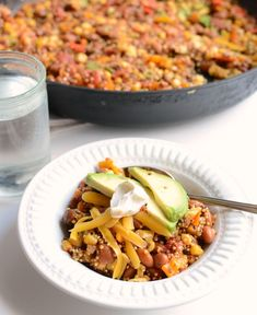 Healthy One Pot Quinoa Taco Casserole ~  Eat it like a chili or stew or throw it inside of a taco shell! You can also use it in taco salad, on nachos, or on top of baked potatoes.
