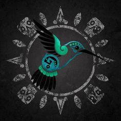 Just the hummingbird. Citlali Turquoise Hunab Ku Hummingbird Aztec by TheFantasticAztec. Aztec Tattoo Designs, Aztec Designs, Body Art Tattoos, Cool Tattoos, Tatoos, Mayan Tattoos, Mexican Art Tattoos, Aztec Symbols, Azteca Tattoo