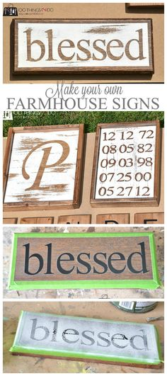 Step 2 in my rustic gallery wall project is creating farmhouse signs - perhaps they should be called rustic signs? Regardless, it's an easy DIY that you can customize for your home. Spanish Revival, Wine Racks, Rustic Signs, Wooden Signs, Painted Signs, Painted Boards, Hand Painted, Farmhouse Signs, Farmhouse Decor