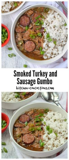 Looking for an easy and authentic gumbo recipe? This Smoked Turkey and Sausage Gumbo is a family tradition and uses leftover Thanksgiving turkey or smoked turkey from our favorite local barbecue spot! We also make this Cajun style soup for various holiday Easy Leftover Turkey Recipes, Leftovers Recipes, Turkey Leftovers, Turkey Gumbo Recipe Easy, Dinner Recipes, Junk Food, Sausage Gumbo, Sausage Soup, Sausage Stuffing