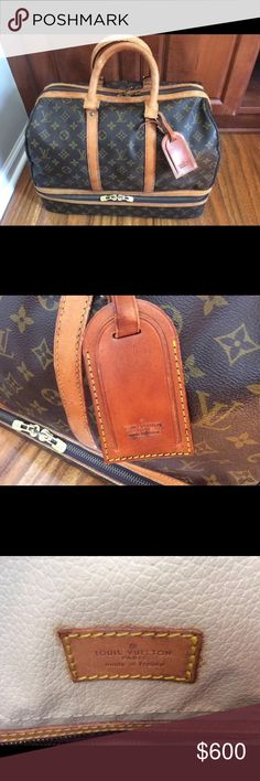 Louis Vuitton Luggage Suitcase Carry On Rare unisex sports monogram carry on bag suitcase in excellent condition and is offered with the LV leather tag holder. The top compartment has one zippered pocket and two sleeve pockets and the piece is stamped with the date code 874 VI, which means it was manufactured in April 1987, in France. The bottom compartment is perfect for folded shirts, shoes..etc. This piece has been in the family for many years and was well cared for. No trades for this…