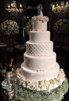 Wedding cakes have ended up being an essential decoration at wedding venues where guests still excite themselves over how magnificent the wedding event cake is. Pretty Wedding Cakes, White Wedding Cakes, Elegant Wedding Cakes, Beautiful Wedding Cakes, Wedding Cake Designs, Beautiful Cakes, Vintage Wedding Cakes, Fake Wedding Cakes, Cake Wedding