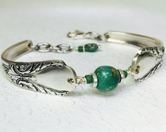 "Silver Spoon Bracelet, Genuine Turquoise - ""Avalon"" 1940"
