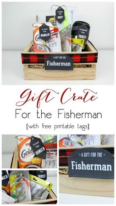 Perfect for the Fisherman! Instead of gift baskets, why not opt for the more manly Gift Crate?! The perfect crate for any guy on your list, plus an amazing list of suggestions!