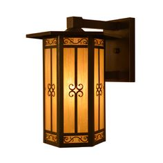 """Arroyo Craftsman Lily 1-Light Outdoor Wall Lantern Size: 13.5"""" H x 11"""" W x 11"""" D, Finish: Mission Brown, Shade Type: Almond Mica"""