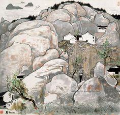 吴冠中作品:普陀山Wu Guanzhong (吴冠中; b1919, Yixing, China)