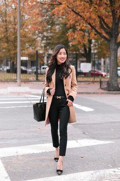 Black sweater+black pants+glitter bow pumps+camel coat+black tote bag+black logo belt. Fall Workwear/ Business Casual Outfit 2017