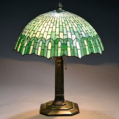 Mosaic Glass Table Lamp Attributed to Gorham | Sale Number 2661B, Lot Number 6 | Skinner Auctioneers