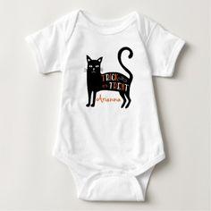 "Black Cat ""Trick or Treat"" Personalized Baby Bodysuit / Onesie"