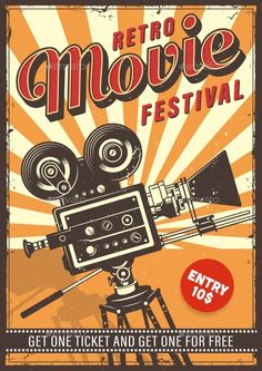 Buy Cinema Vintage Poster by imogi on GraphicRiver. Cinema vintage colour poster with typography.