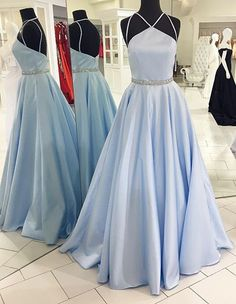 Backless Beading Prom Dress,Spaghetti Straps Prom Dresses,A Line