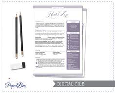 Creative Vintage CV Resume in purple  Digital by PaperBeeDesigns, $30.00