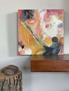 Small acrylic artwork on wood board. Warm colours Warm Colours, Acrylic Artwork, Art Moderne, Spring Collection, Oeuvre D'art, Wood, Painting, Contemporary Art, Color