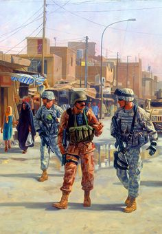 US and Iraqi National Guards patrolling Martyr's Market, Baghdad, Second Gulf War Military Tactics, Military Art, Military History, Afghanistan War, Iraq War, British Army Uniform, Military Drawings, Army National Guard, War Comics
