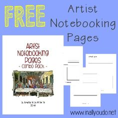 FREE Artist notebooking pages