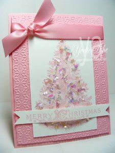 Delightful variation on Christmas Lodge set - pink christmas tree card Christmas Lodge, Noel Christmas, Pink Christmas, Handmade Christmas, Christmas Crafts, Victorian Christmas, Christmas Wedding, Christmas Ideas, Christmas Tree Cards