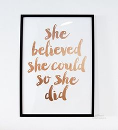 "Inspirational Print ""She Believed She Could So She Did"" Quote Printable Rose Gold Print Decor Motivational Poster FleurtPrintables #0055"