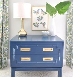 Blue spray painted bamboo chest with excellent diy instructions(how to avoid differences in sheen)