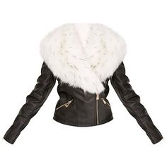 Addyson Black Tipped Faux Fur Collar Pu Biker Jacket (5.110 RUB) via Polyvore featuring outerwear, jackets, faux fur collar jacket, pu jacket, motorcycle jacket, faux fur collar biker jacket и pu biker jacket