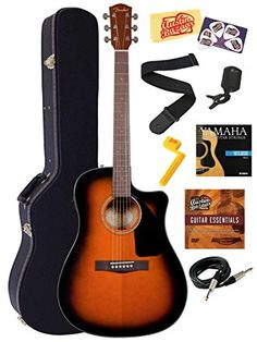 Fender CD-60CE Dreadnought Cutaway Acoustic-Electric Guitar Bundle with Hardshell Case, Instrument Cable, Strap, Strings, Tuner, Stringwinder, Picks, Instructional DVD, and Polishing Cloth - Sunburst Fender http://www.amazon.com/dp/B00ITG2VQ8/ref=cm_sw_r_pi_dp_vGcAub0S5P2Q2
