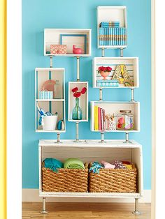 @ BHG.com - DIY Furniture Makeovers - Give old furniture a fresh face with these makeover ideas. With projects for tables, chairs, dressers, and more, you'll find plenty of fun inspiration to elevate tired furniture to wow-worthy status. = Crate-and-Pipe Shelf