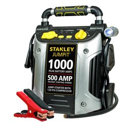 Give your car battery the boost it needs to get going with the Stanley 1000 Peak Jump Starter with Air Compressor. A rotating LED light attached to the Stanley jump starter with compressor makes it easy to see when you're working in dark conditions. Battery Clamp, Battery Icon, Portable Air Compressor, Usb, Portable Battery, Lead Acid Battery, Charger, Iphone 6, Laptop