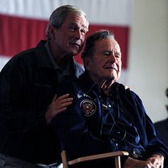 Former Presidents George W. Bush and his father, George H. Bush, deliver remarks to the crew during a ceremony aboard the aircraft carrier USS George H. Bush (CVN and of the United States Presidents Wives, American Presidents, Famous Presidents, American Soldiers, Us History, American History, Texas History, American Pride, Barbara Bush